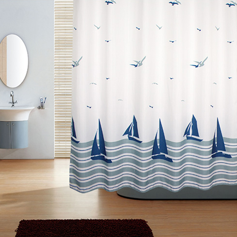 Shower curtain European style thick/waterproof/mildew/polyester heavy fabric bathroom shower curtain Sea birds boat pattern+hook