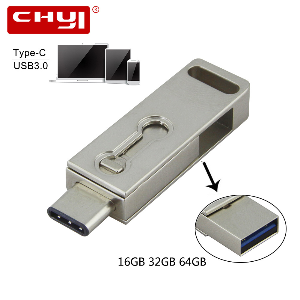 CHYI USB 3.0 Pen Drive OTG 16GB 64GB Type-C 3.1 Pendrive 32GB Waterproof Memory Stick USB Flash Drive For Smartphone Computer PC