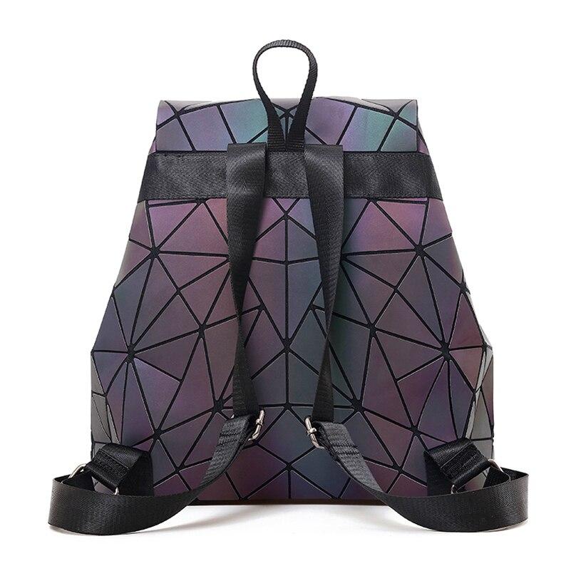 787f7e191 Luminous Backpack Women Leather Geometric Backpacks Diamond Lattice  Drawstring Backpacks Holographic Backpack Purse 2018