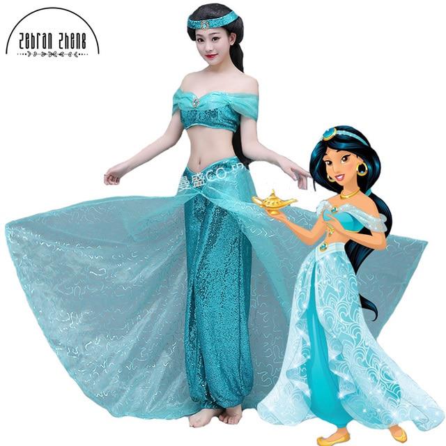 2017 new style aladdin jasmine princess cosplay costume for adult women girls halloween party costume custom