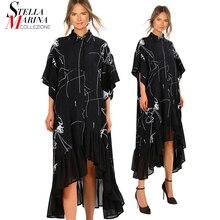 Новинка женское летнее платье размера плюс, длинное черное Ретро Повседневное платье-рубашка с рюшами и неровными полосками, женское элегантное платье 3751