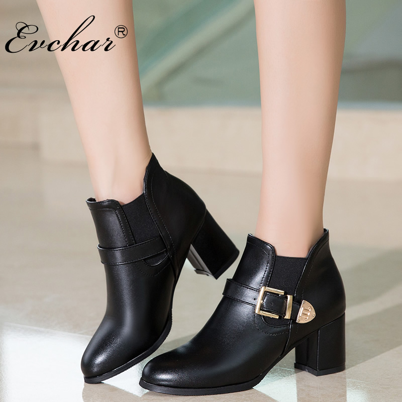 EVCHAR New Shoes Women Boots High Heels Ankle short plush Boots Pointed Toe Buckle riding Boots slip-on Shoes big size 33-50 meotina new shoes women boots high heels ankle boots pointed toe buckle martin boots zip ladies shoes white big size 44 45 10 11