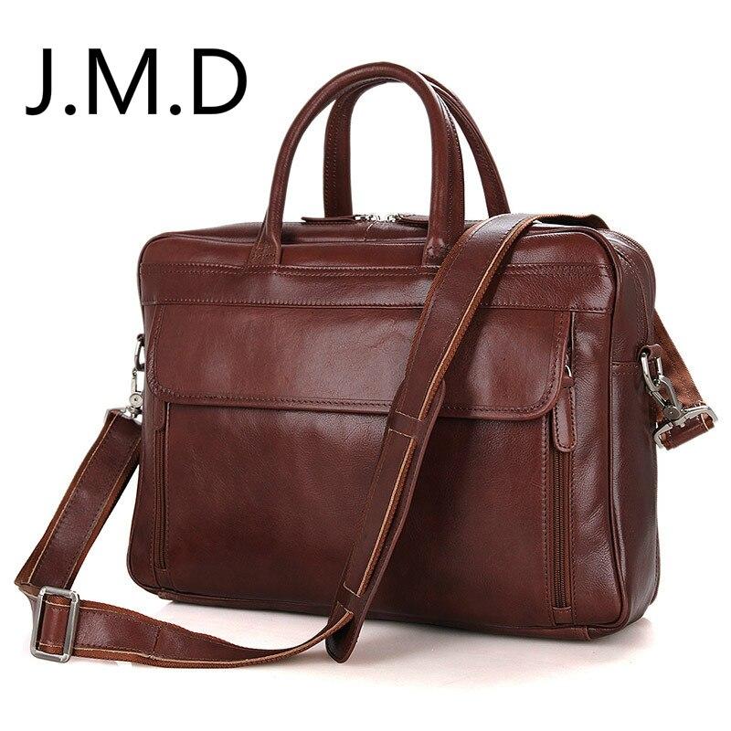 J.M.D Vintage sac en cuir véritable homme sac à main en cuir Messenger sac à bandoulière 15 pouces PC sac 7333