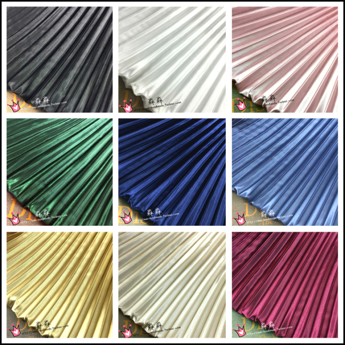 Pleated Fabric silk Clothing pleated fabric solid color big stripes organ imitation thread is not transparent skirt image