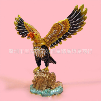 European Chinese style Metal enamel painted animal Wings eagle model, home desktop decor decoration ornaments(A611)