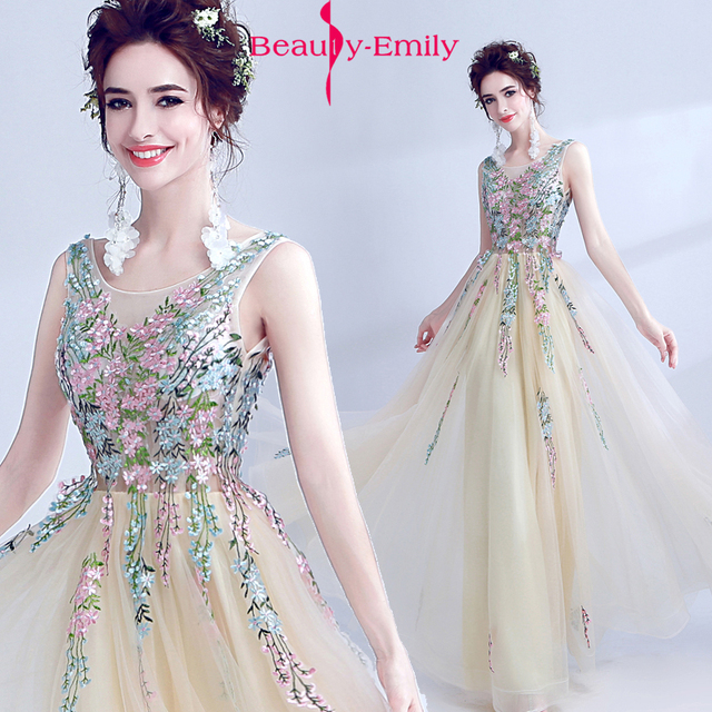 2dc0696b3b3 Fairy girl dress prom Gowns fancy embroidery flowers homecoming dresses  2018 long formal Evening dresse beige vestido de festa