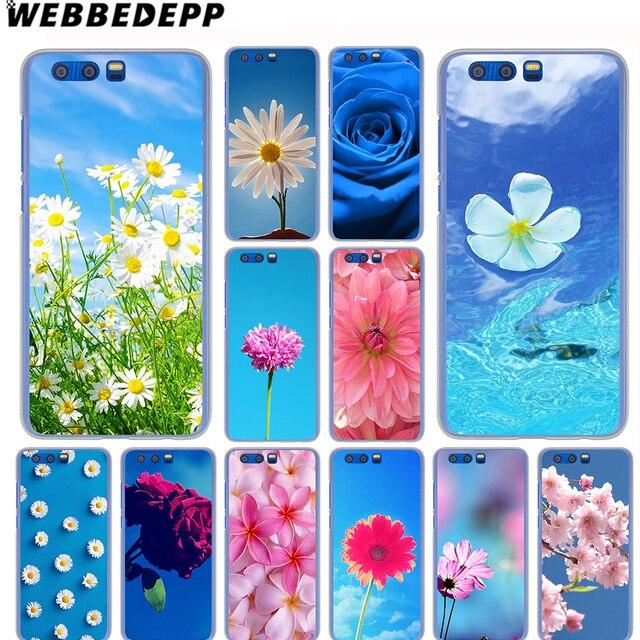 Webbedepp Berwarna Merah Muda Bunga Biru Sky Case Untuk Samsung