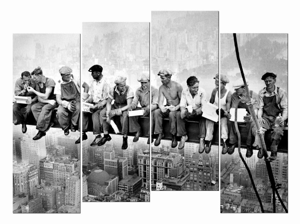 4 Piece HD Giclee Canvas Paintings Lunch Atop Skyscraper Retro Vintage Cool Art Wall Poster For Living Room Bedroom Office Etc
