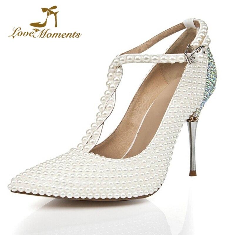 eaeddf31e2d Bout T Mariage Pointu White Chaussures D anniversaire Fête 10cm Hauts Talon  Blanc Dame Mince Perle Mode ...