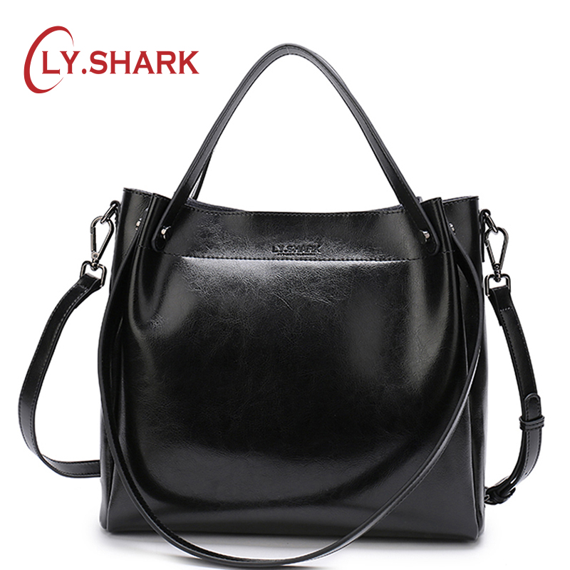 ¡LY! tiburón de bolso de mujer de cuero genuino de las señoras bolsas para las mujeres 2018 bolso mensajero bolsa mujeres hombro bolso mujer Bolso grande rojo