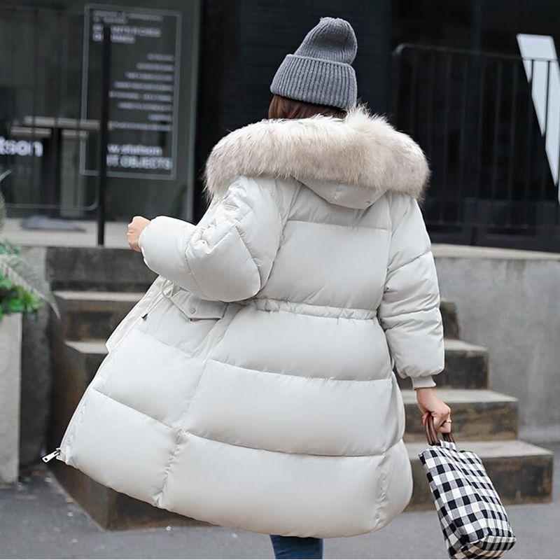 Nouvelle mode chaud hiver veste 2018 femmes grande fourrure épaisse mince femme veste hiver femmes à capuche manteau vers le bas Parkas Long survêtement