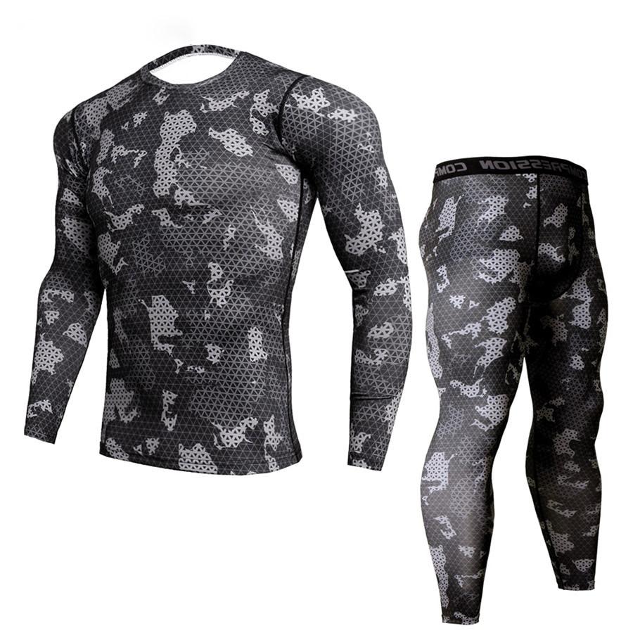 New Fitness Camo T Shirt Men Compression Shirt 2Pcs/sets Sportswear MMA Rashguard Mens Joggers Leggings Gyms Bodybuilding Tights