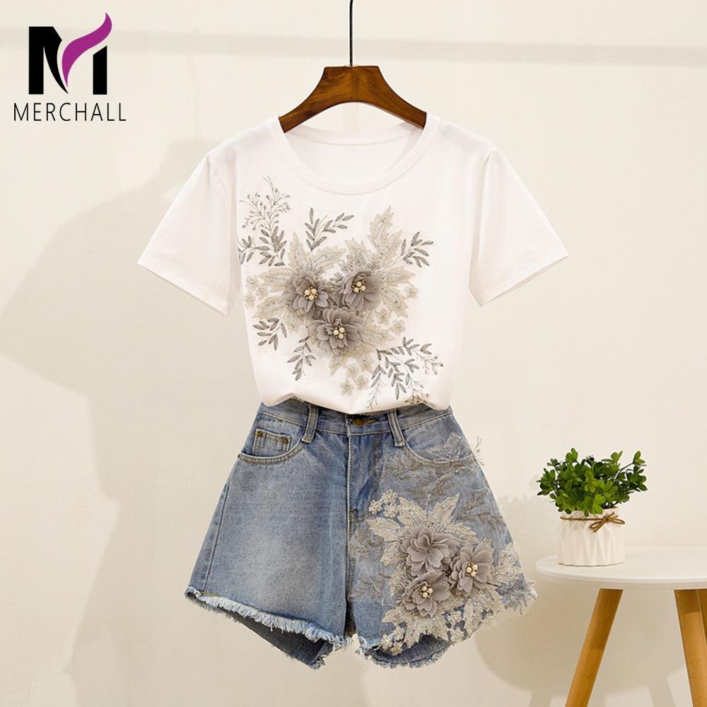 2019 Summer 3D Flower Embroidery Two Piece Set Women Appliques Beading Floral Cotton T-Shirts + Jean Shorts Set Girls Short Pant