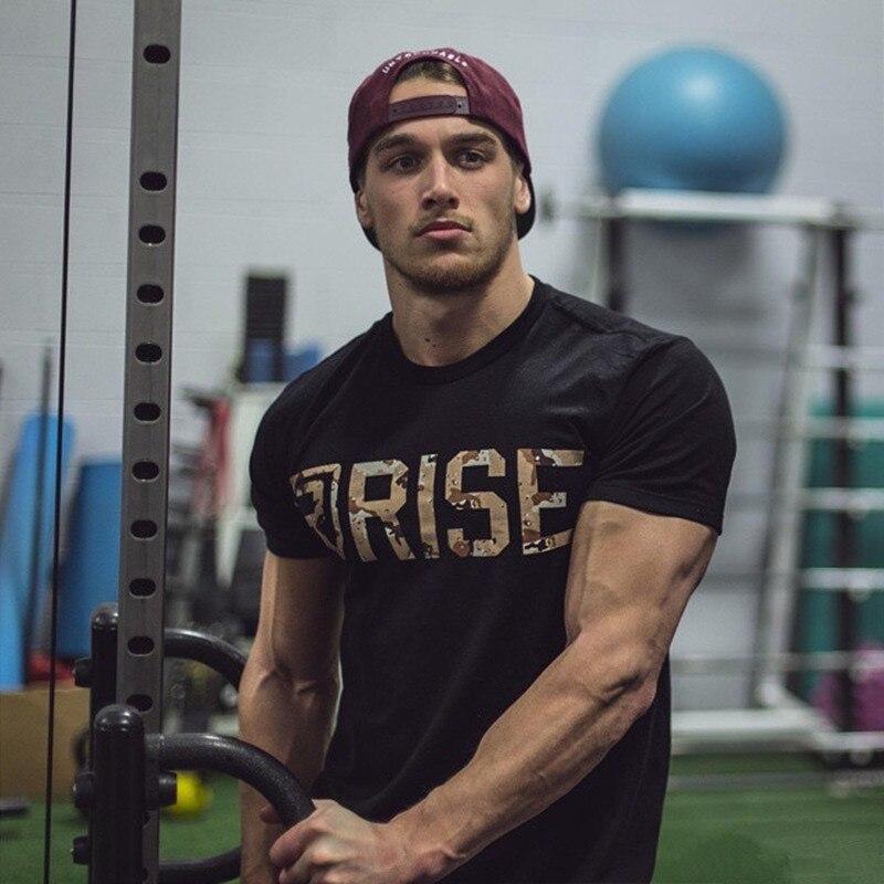 Mens Marca camiseta de Fitness Musculação academias de ginástica Crossfit Magro Camisas De Algodão Dos Homens de treino de Manga Curta masculino Tees Casual Tops roupas
