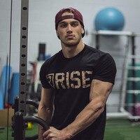 Exercise Gym Crossfit Men S T Shirt Printing Bodybuilding Stringer Masculina RISE Short Sleeved Poleras Hombr