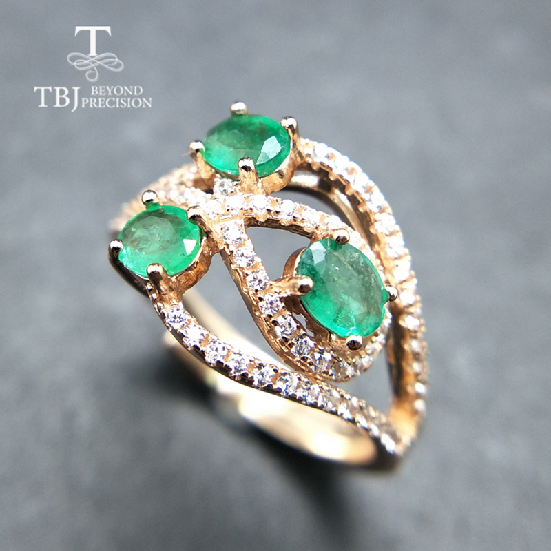 TBJ, 100% natural green  emerald gemstone  ring in 925 sterling silver fine jewelry for women ,Real zambia emerald Ring with boxTBJ, 100% natural green  emerald gemstone  ring in 925 sterling silver fine jewelry for women ,Real zambia emerald Ring with box