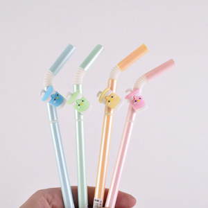 Image 3 - 48 pcs Gel Pens Kawai Cartoon Cool drinking straw black colored gel ink pens for writing Cute stationery office school supplies