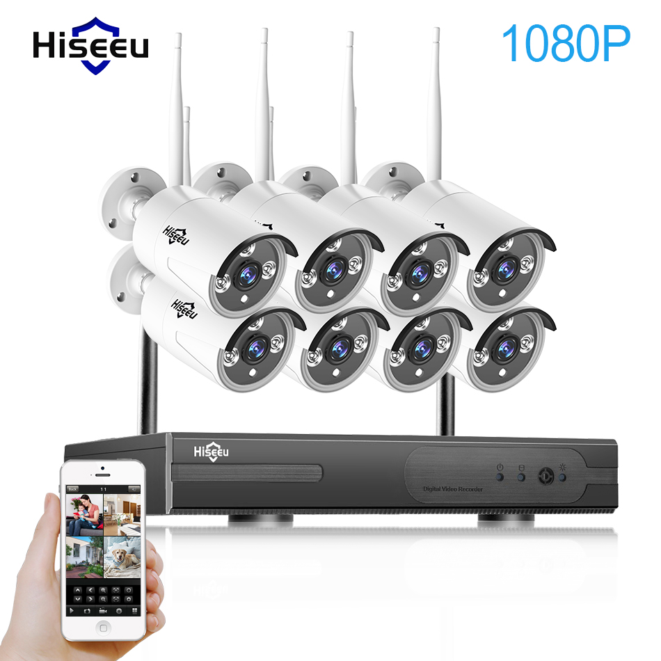 2MP Wireless CCTV System 1080P 8ch HD Wi Fi NVR Kit Outdoor IR Night Vision IP