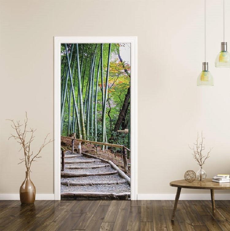 3D Bamboo Forest Door Mural Wall Art Wallpaper Mural Wall