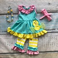 Easter design new baby girls kids boutique clothing ruffles cotton chick strpies sets with matching headband and necklace set