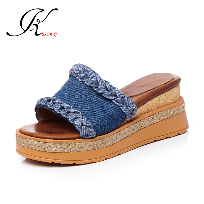 KSJYWQ Denim Sexy Open-toe Women Mules 6 CM Wedges Summer Platform Sandals Casual Slippers Party Shoes Woman Box Packing H882 phyanic 2017 gladiator sandals gold silver shoes woman summer platform wedges glitters creepers casual women shoes phy3323