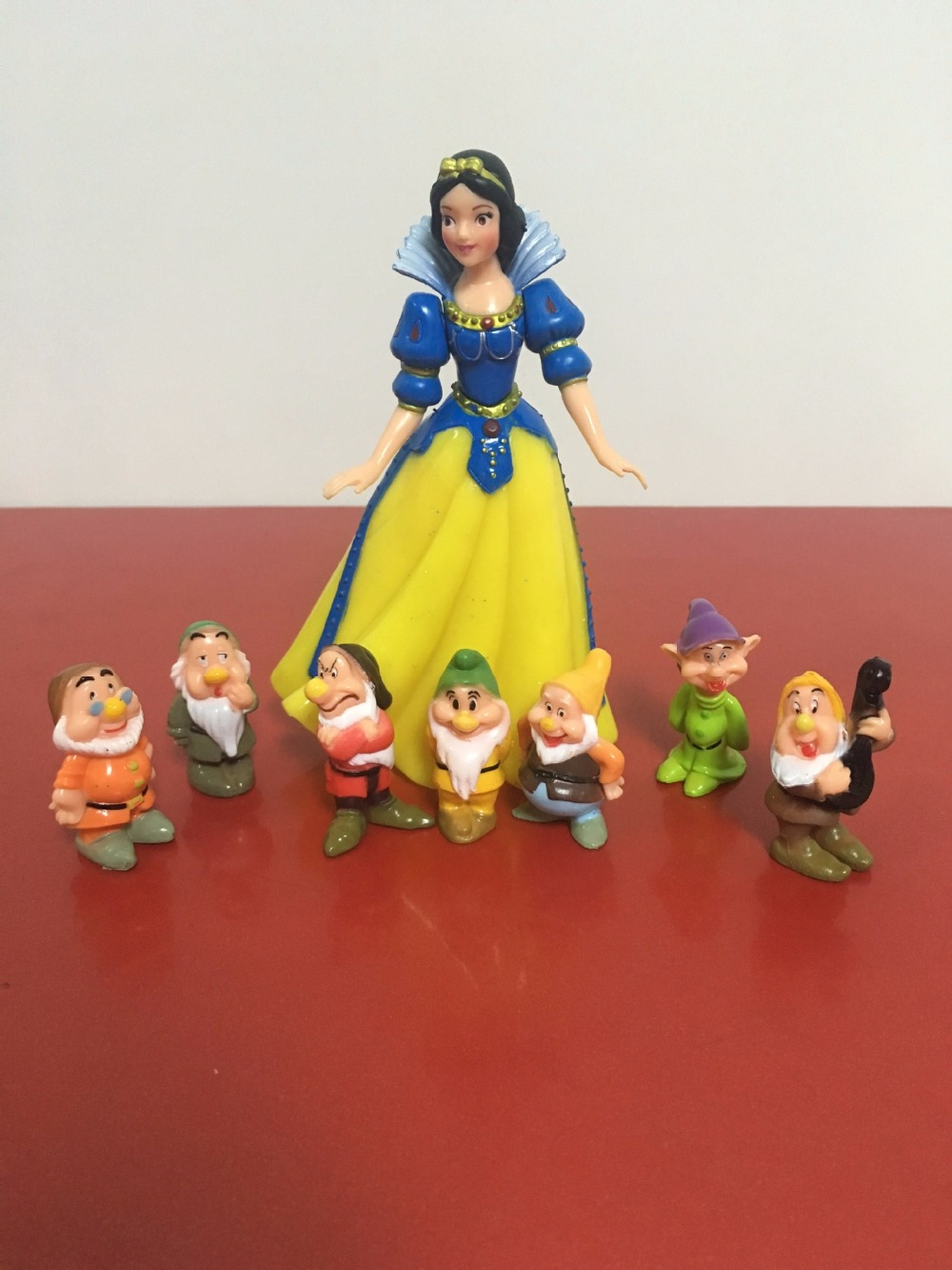 8pcs high quality cake decorative doll snow white princess and the 7 Dwarfs Doll Toy Figurine ornaments custom baby wallpaper snow white and the seven dwarfs bedroom for the children s room mural backdrop stereoscopic 3d