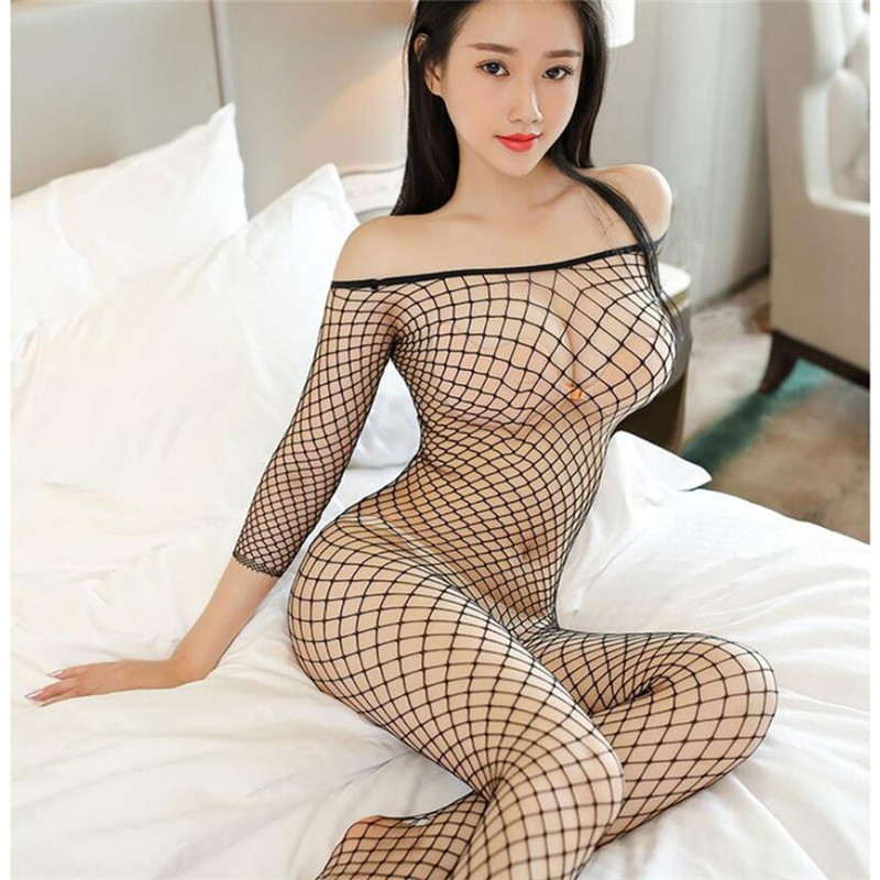 Transparent Erotic Lingerie For Women Hollow Out Mesh Sexy Costumes Porn Teddy Baby Doll Sexy Lingerie Plus Size Sex Clothes(China)