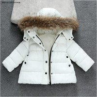 2017 New Winter Thermal Jackets For girls boys Children Solid Thickening Coat Kids Outerwear Fur Hooded 80-140cm white red black
