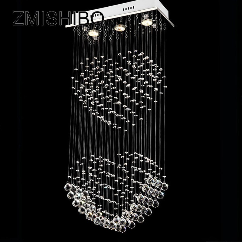 ZMISHIBO Clear Crystal Ceiling Pendant Lamp 3 LED GU10 Bulbs 110-220V Double Heart Romantic Lighting Fixtures For Dining Room