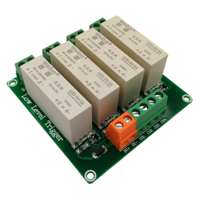 4 channel solid state relay module DC-controlled DC load 5A low-level trigger for PLC automation equipment control 4 channel 5a high level trigger solid state relay module board 3 32v power supply and trigger voltage