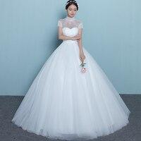 Hot sale fashion long weddding dresses 2019 custom made high neck tulle lace bridal marry dress vestidos de noiva Gowns