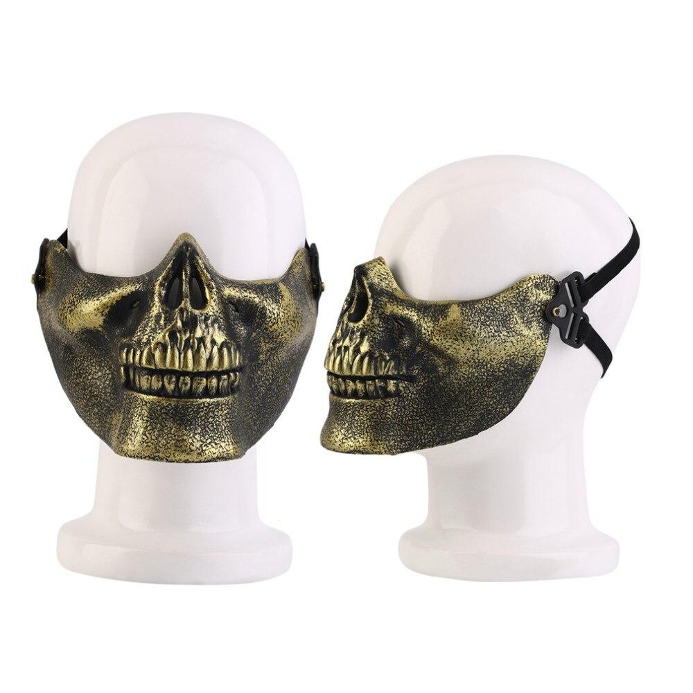 Skeleton Mask Half Face Actual Combat Warrior Face Masks Halloween ...