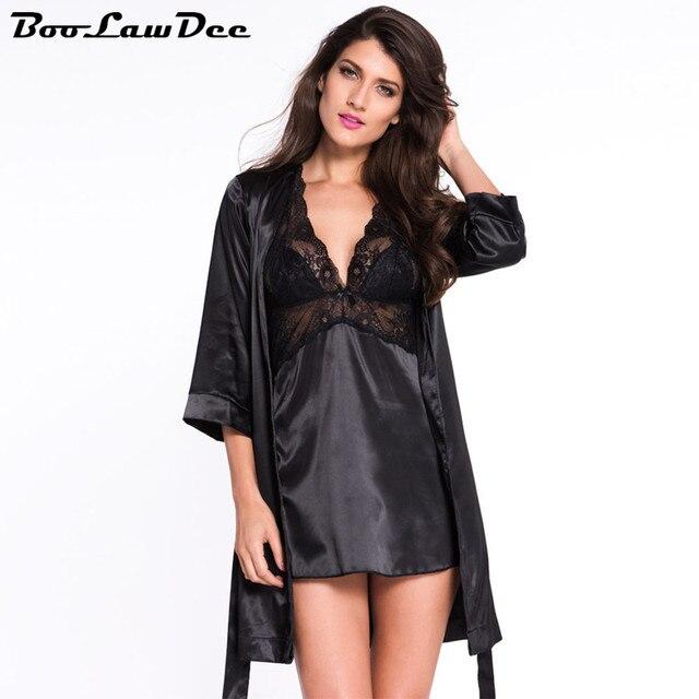 BooLawDee Сексуальные женщины осень халат и платье установить половину рукав для осень носить эвакуатор piece set красный фиолетовый черный свободный размер 1B019