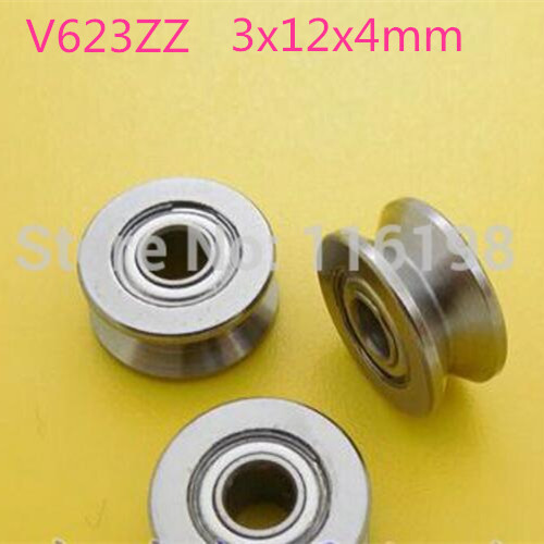 V623ZZ 623VV 623 V groove deep groove ball bearing 3x12x4mm Traces walking guide rail bearings (carbon steel) 4mm walking guide rail groove u groove 604uu 4 12 4 5 mm 3d printer dedicated feeding roller bearings u604w5 u604zz
