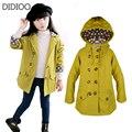 Niños chaquetas para niñas moda otoño abrigo Cruzado grande niños cazadoras casaco trajes ropa de los cabritos tamaño 2-14