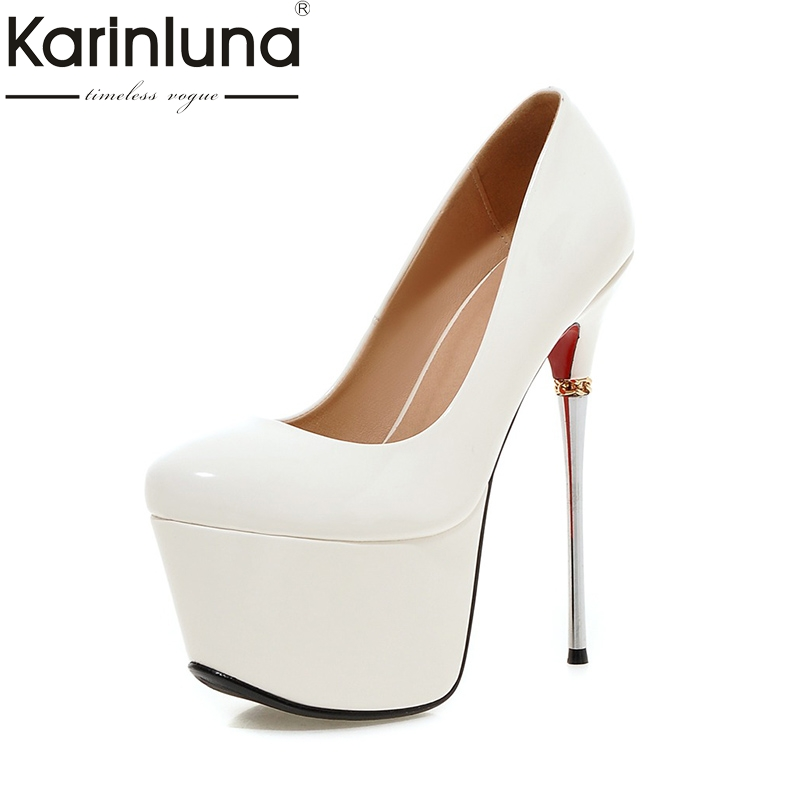 KarinLuna 2018 Big Size 32-43 Spring Summer Party Shoes Women 7 Colors Sexy 16cm Thin High Heels Fashion Red Pumps Shoes karinluna new big size 32 43 peep toe summer party shoes women 7 colors sexy 16cm thin high heels fashion red pumps shoes