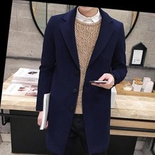 New Arrival Mens Fashion Slim Fit Trench Top Quality Long Windbreaker Wool Blend Casual Coats Man Long Jacket Overcoat Size 3XL