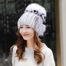 Women's knitted Mink Fur Hat female styles fur Hat with fox fur  Women Winter warm hat girls Bomber Hats недорго, оригинальная цена
