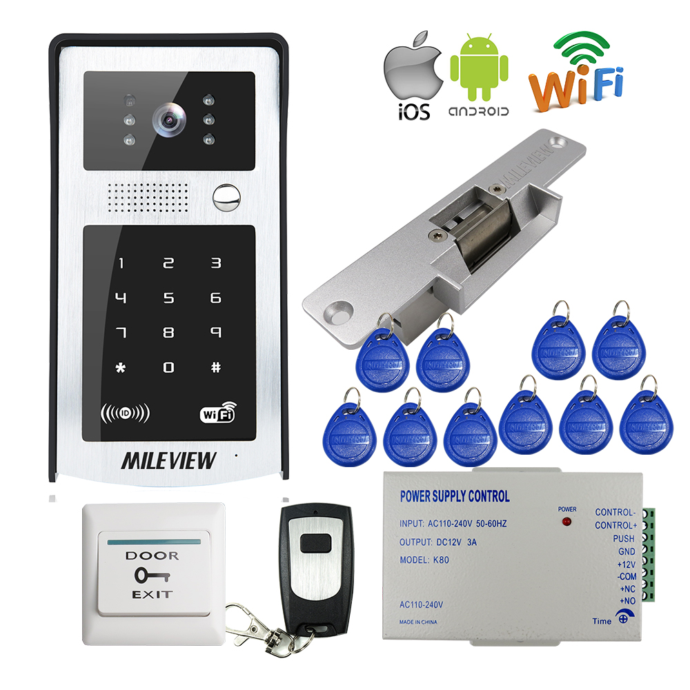MILEVIEW RFID Code Keypad Wifi Wireless 720P HD Video Doorbell Intercom Camera for Android IOS Phone Strike Lock FREE SHIPPING rfid reader wifi 720p hd video doorbell intercom phone camera for android ios phone with electric strike lock for door access