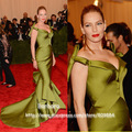 Festival de Cannes 2013 Uma-Thurman Mermaid V-Neck Ruffles Red Carpet Satin Celebrity Dresses Evening Dress Free Shipping
