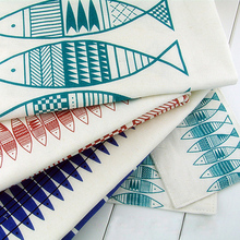 50*150cm Simple Fish Printed Linen Cotton Fabric DIY for Upholstery Sewing Curtain Tablecloth Cotton Home Decor Textile Fabric