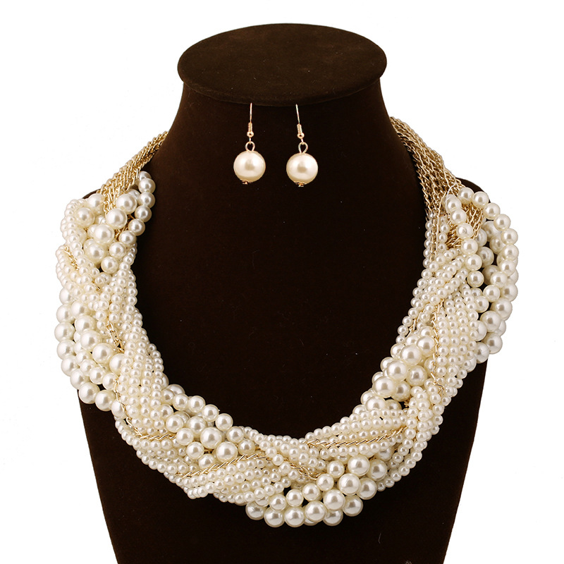 Trendy Gold Color Imitation Pearls Necklace Earrings Women Bride Wedding Jewelry Sets Clic Party Dress Accessories