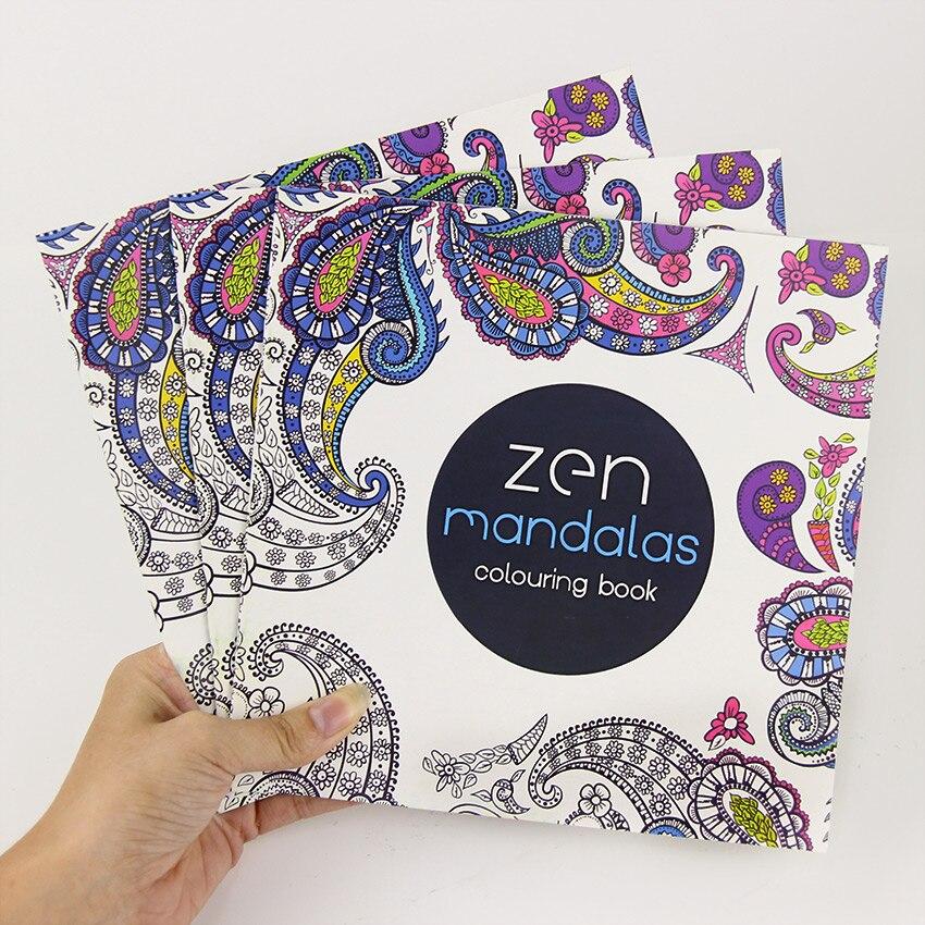 24 страницы Новый мандала цветок черный и белый DIY раскраска Картина граффити книга снять стресс Досуг книги по искусству