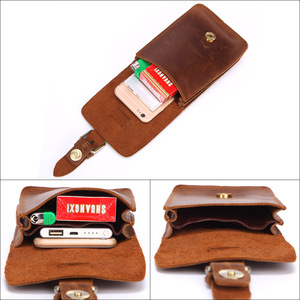 Image 5 - MISFITS Crazy Horse Cow Leather Mens Waist Bag Genuine Leather Travel small Fanny Pack Belt Loops Hip Bum Bag Male Phone Pouch
