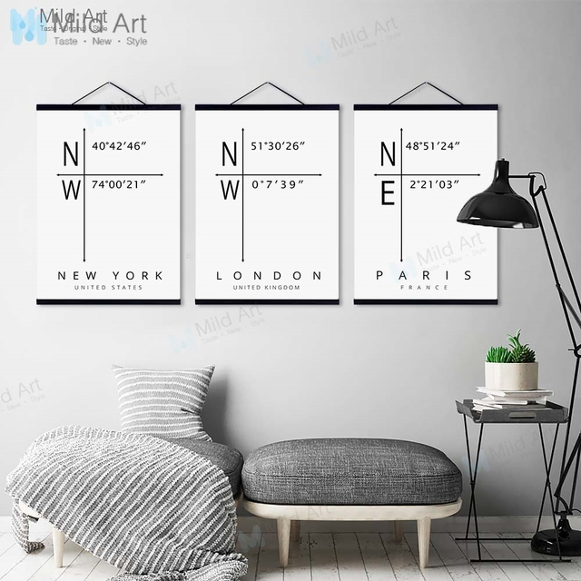 Minimalist World City Coordinate New York London Wooden Framed Hanger Poster Wall Art Pictures Home Decor Canvas Painting Scroll