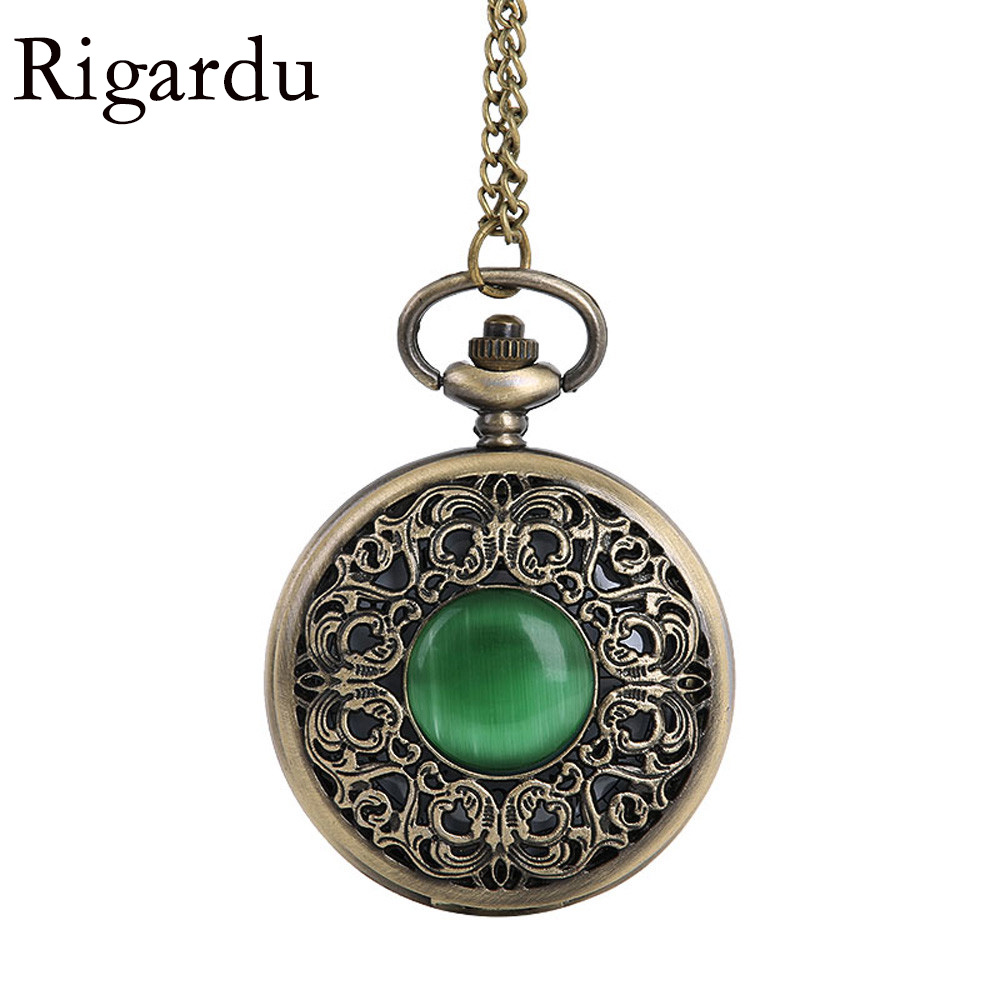 RIGARDU Retro Pocket Watch Vintage Emerald Carved Openable Quartz Pocket Watch Men Necklace Pendant Gift for Grandpa Dad otoky montre pocket watch women vintage retro quartz watch men fashion chain necklace pendant fob watches reloj 20 gift 1pc