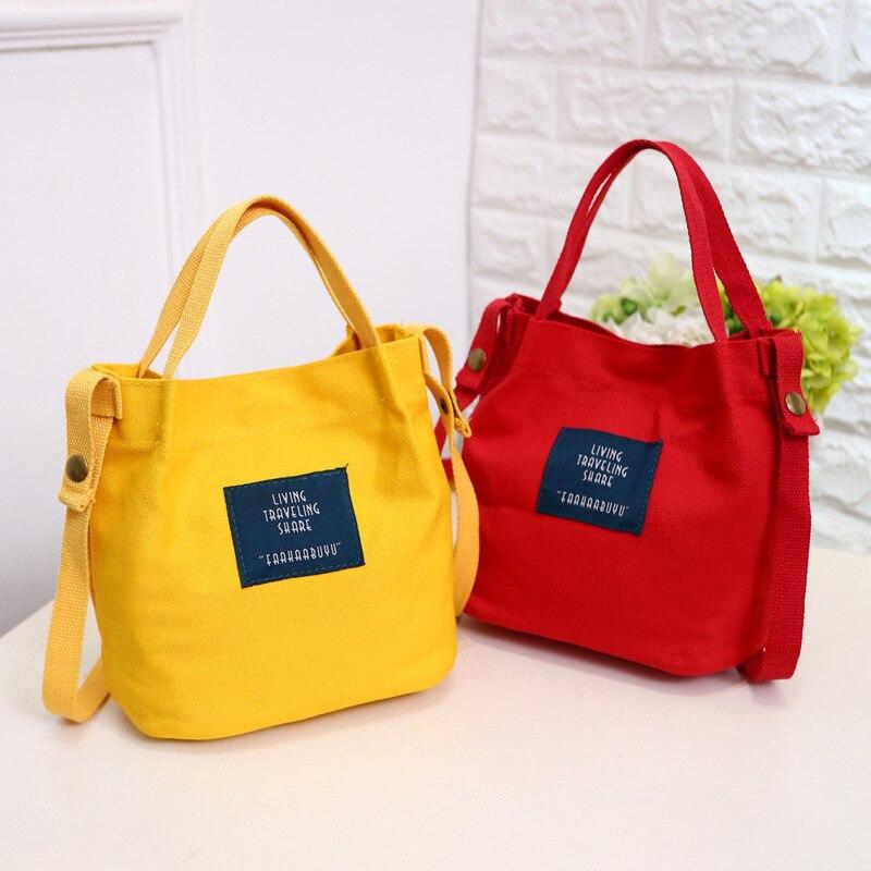 цены Women Canvas Shoulder Bag Simple Japan And South Korea Bucket Handbag College Wind Student Messenger Bag Pouch Shopping Bag