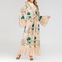 Kaftan Muslim Women Long Trumpet Sleeve Vintage Stylish Lace Floral Patchwork Cardigan Maxi Dress Robe