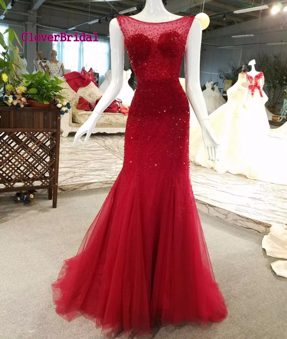 CloverBridal crystal tassels sexy backless luxury sequins beaded illusion neck mermaid long formal   dress   burgundy   evening     dress