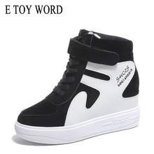 E TOY WORD Women Sneakers Height increasing Casual Women Shoes 2019 spring autumn Fashion Platform shoes Black White sneakers sneakers e goisto sneakers